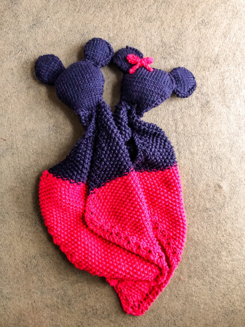 Mouse Ears with Bow Knit Baby Lovey