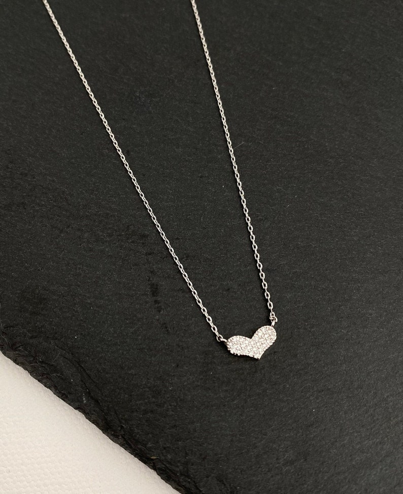 White Heart necklace Crystal Diamond CZ Heart Necklace Heart  necklace gift luxury necklace Heart Necklace Gold Dipped