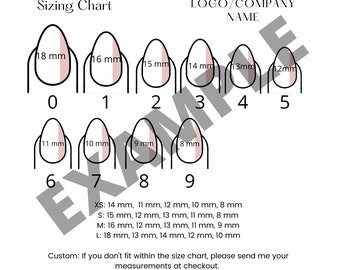 DIY Press On Nail Size Chart   Press On Nails Size Chart TEMPLATE