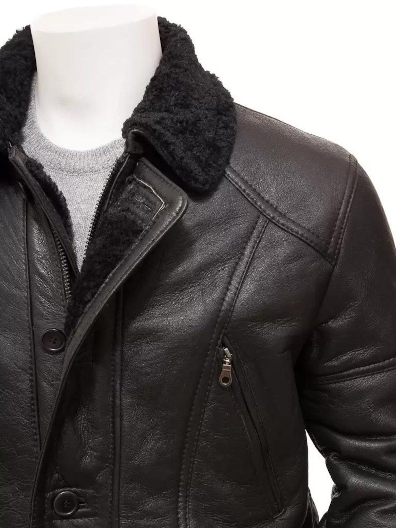 Black Shearling Bomber Harleston Coat for Men Winter Fashion OutfitClothing