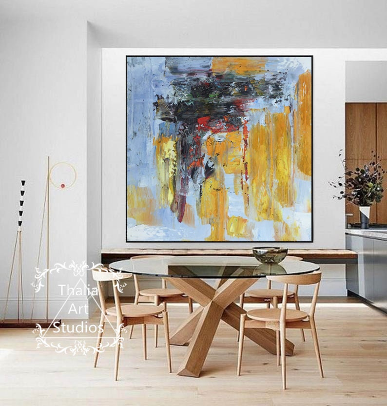 Hand-painted abstract art yellow large original oil painting image 0