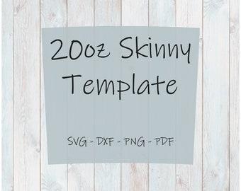 20oz Skinny (taper) Tumbler Template SVG PNG DXF and Pdf Cut Files