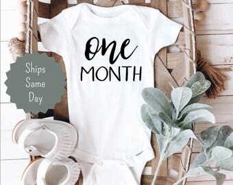 Bodysuit with number UNISEX Newborn Boy First month. Onesie Number Birthday Months Baby Boy Clothes Birthday boy Milestone Bodysuit