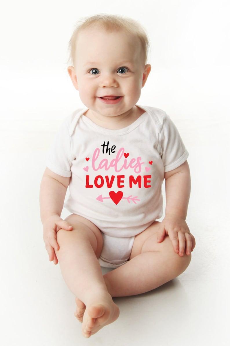 The Ladies Love Me Onesie\u00ae Toddler Boy Shirt Cute Milestone Valentine/'s Day Onesie\u00ae Valentine Baby Bodysuit My first Valentine Onesie\u00ae