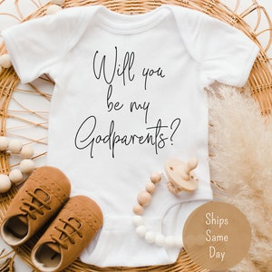Lucky Star Godparents Onesie Proposal Only The Best Friends Get Promoted to Gift Godmother Baptism Baby Bodysuit