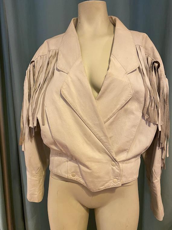 80's White Fringe Leather
