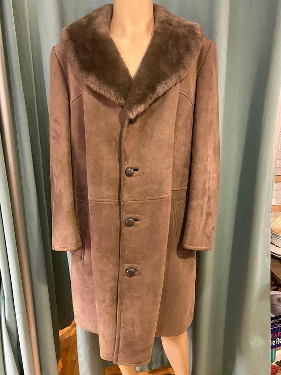 Suede Faux Fur Lined Coat