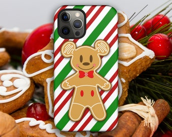 Christmas Holiday Gingerbread Mickey Mouse Cookie iPhone Case // 12 Pro Max, 12 Pro, 12 Mini, 12, 11 Pro Max, 11 Pro, 11, (8 and newer)