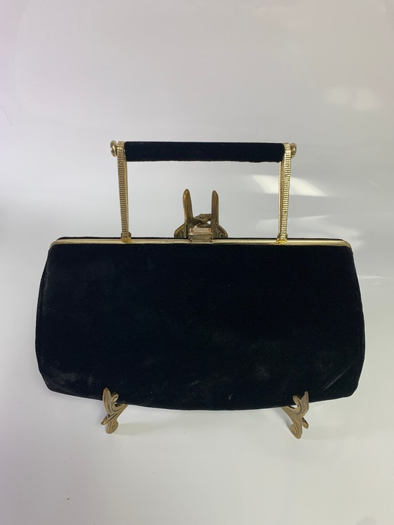 Black And Gold Vintage Suede Purse