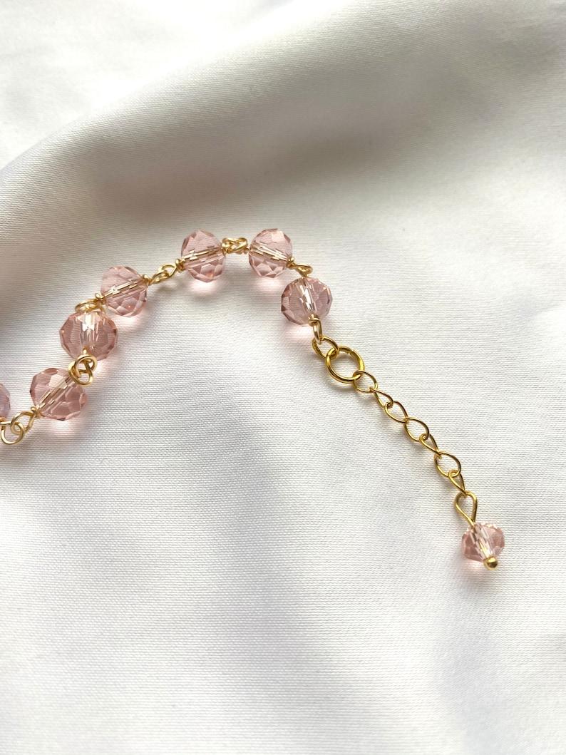 BLOSSOM bracelet elegant bead bracelet rondelle beads gold plated pink glass bead wrapped bracelet elegant romantic jewelry for her