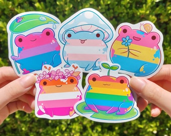 Pride Frog Charity Stickers   LGBTQ Flag Frog   Gay Pride Sticker Decal