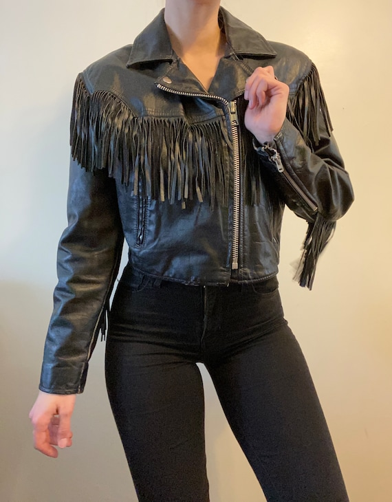 Leather Crop Fringe Jacket