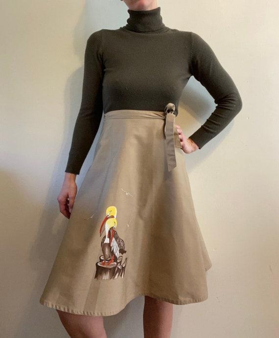 Hand Painted Stork Skirt