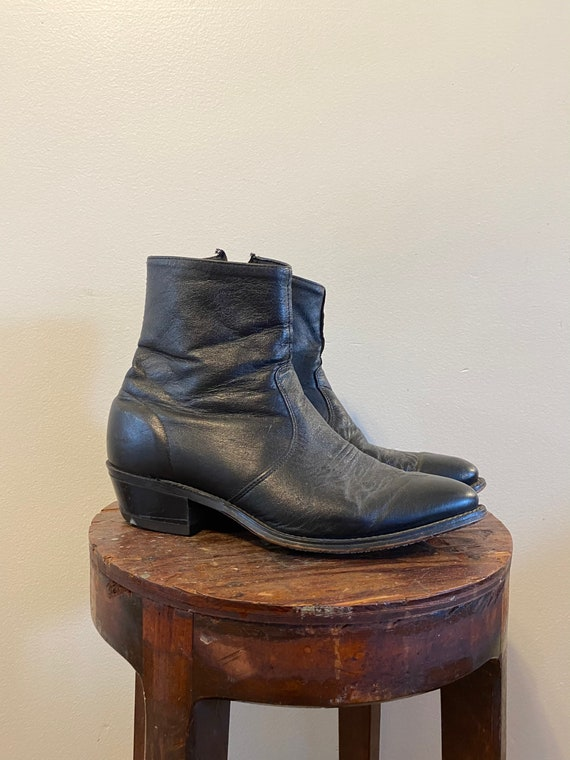 Leather Ankle Cowboy Boots