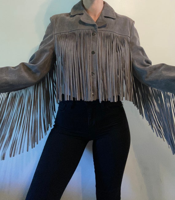 Crop Leather Fringe Jacket