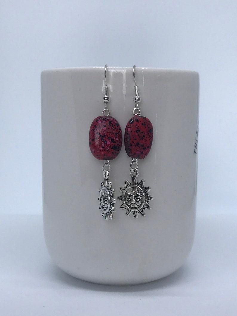 Silver Sun Dangle Charm Red Stone Bead Earrings