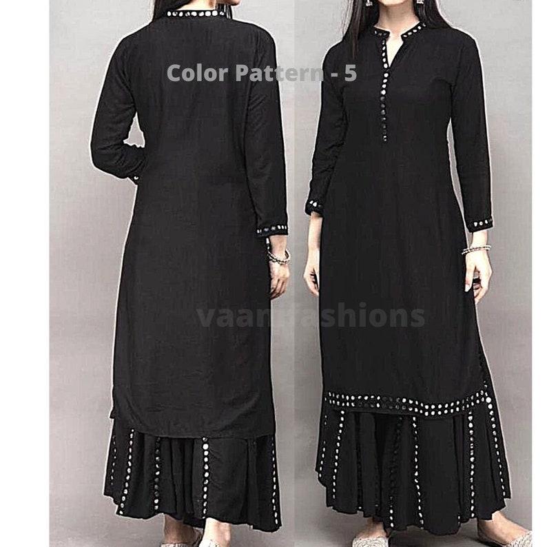 Indian Women kurta Indian Women/' Rayon Cotton Kurti Indian Suit Mirror work Kurti Daily Wear Suit Kurti With Kali Sharara Salwar Kameez
