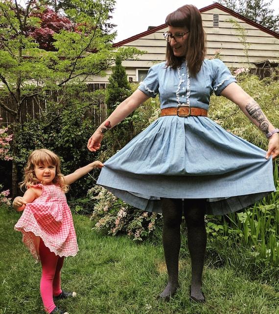 50s Blue gingham dress size MD