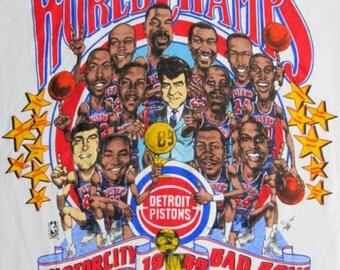 Vintage Detroit Pistons NBA Champions Caricature T-Shirt sku59