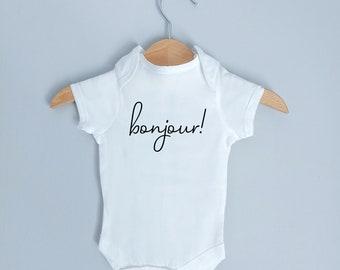 gift for new mother personalized onesie Bonjour French Onesie cute bodysuit baby shower gifts Eiffel Tower Onesie custom onesie