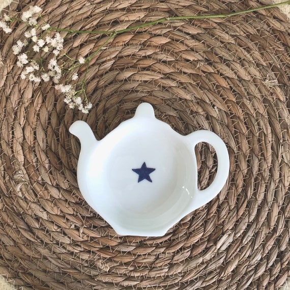Hand Decorated Blue Star Teabag Tidy