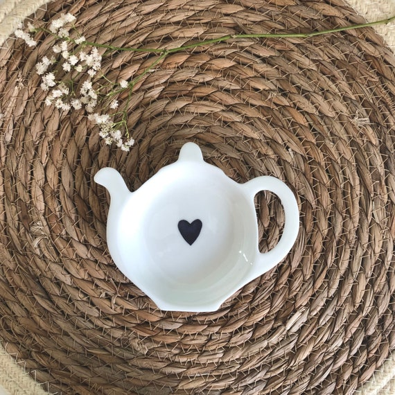 Hand Decorated Blue Heart Teabag Tidy