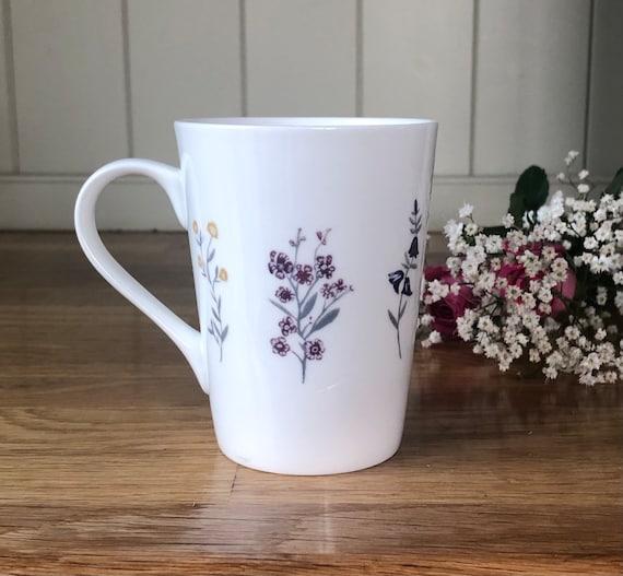 Delicate Spring Flower Bone China Mug UK. Pretty Hand Decorated Floral Design.