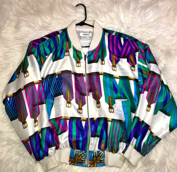"80's Colorful Belt-Printed Bomber Jacket. ""Mighty"""
