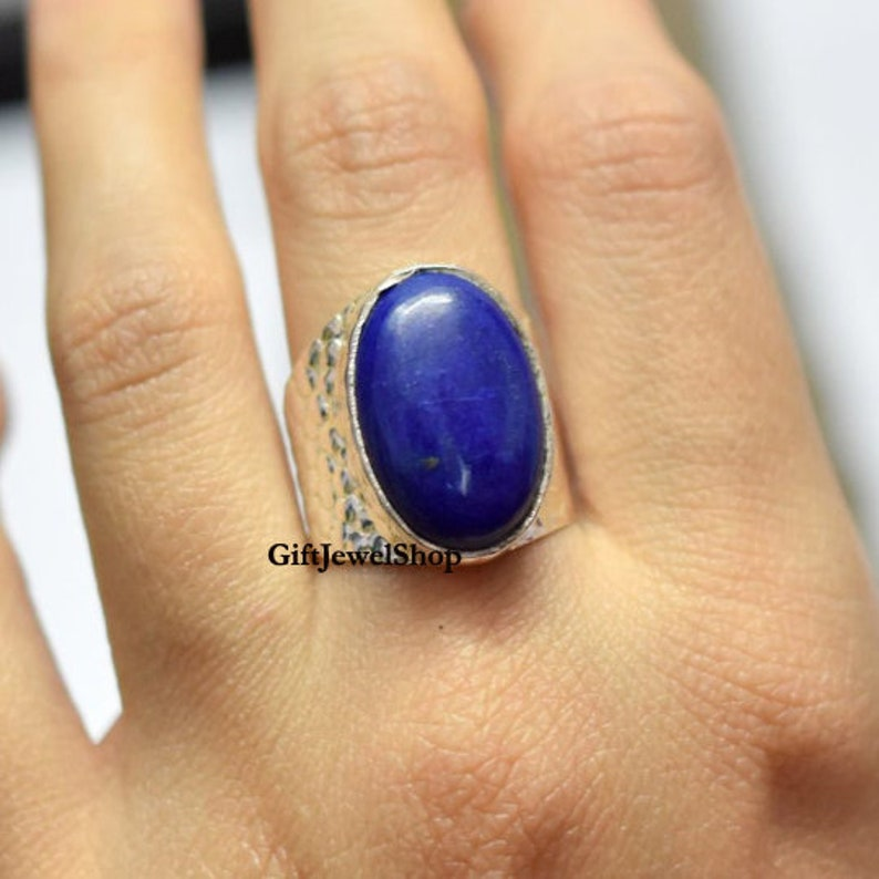 Ring For Women Oval Stone Ring Handmade Jewelry Boho Jewelry Lapis Lazuli Ring September Birthstone Natural Lapis Lazuli Dainty Ring