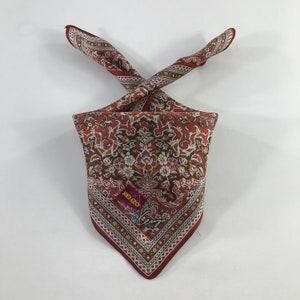 Vintage Kenzo Paris Handkerchief Pocket Square Neckerchief Face Mask Floral Babushka Bandana Accessories Head Band Hair Tie Japanese