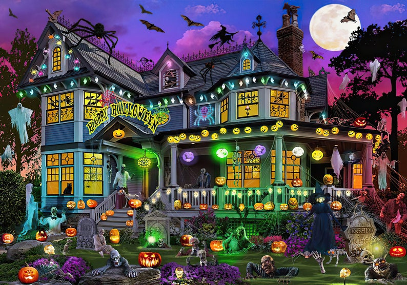 Halloween House ( 20 x 30 inches Premium 1000 Piece Jigsaw Puzzle, Made in USA! )