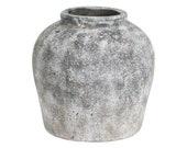 30cm x 29cm Large Aged Stone Ceramic Vase