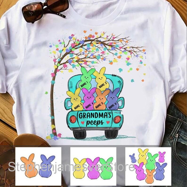 Grandma Easter Shirt Personalized Grandma Peeps Easter Bunny Shirt Easter Gifts For Grandma
