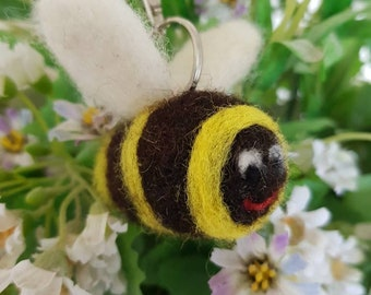 Felted Bee Keyring