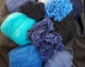 Shades of Blue - Hand Dyed Carded Batts