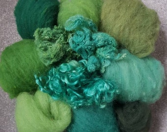 Shades of Green Hand Dyed and Carded Wool