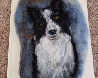 """Felted """"Collie"""" Greetings Card"""