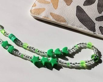 Neon Green, Beaded Phone Charm | Neon Phone Strap | 90s Aesthetic | Y2K | Phone Chain | Phone Wristlet | Phone Accessory