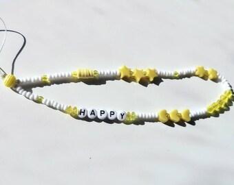 Custom Beaded Yellow Phone Charm | Beaded Phone Strap | Y2K | 90s Aesthetic | Phone Wristlet | Beaded Phone Charm