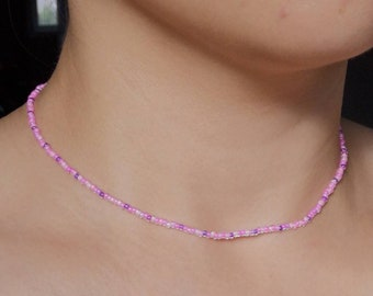 Pink Seed Bead Necklace | Neon Pink Choker | Beaded Necklace |  Dainty Neon Seed Bead Necklace | Colorful Neon Beaded Necklace