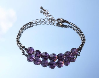 Crystal Amethyst Chain Bracelet | Black Chain Bracelet | Purple Crystal Bracelet | Custom Sized Purple Crystal Bracelet