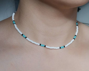 Seed Bead Necklace | Beaded Choker Necklace | Outerbanks | Sea Color Bead Necklace