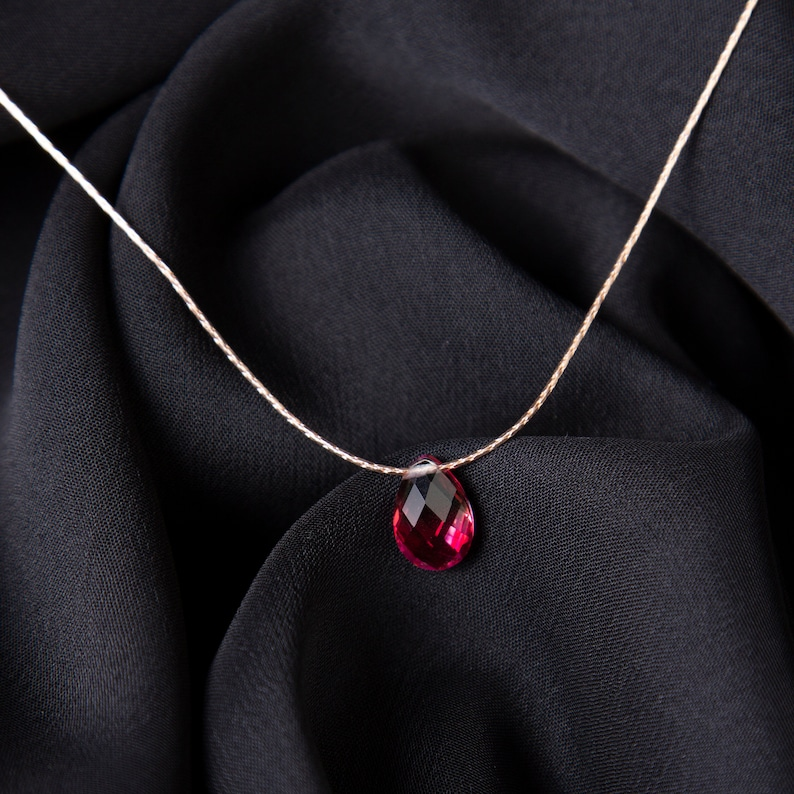 Ruby Necklace Gold Ruby Necklace July Birthstone Necklace Gemstone Necklace Pendant Healing Crystal Necklace Delicate Necklace