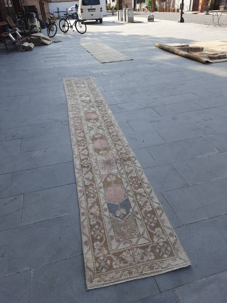1/'8x12/'9 ft  free shipping runner  rug,vintage oushak rug,turkish rug,pastel oushak rug persian rug distressed rug,pirimitive rug