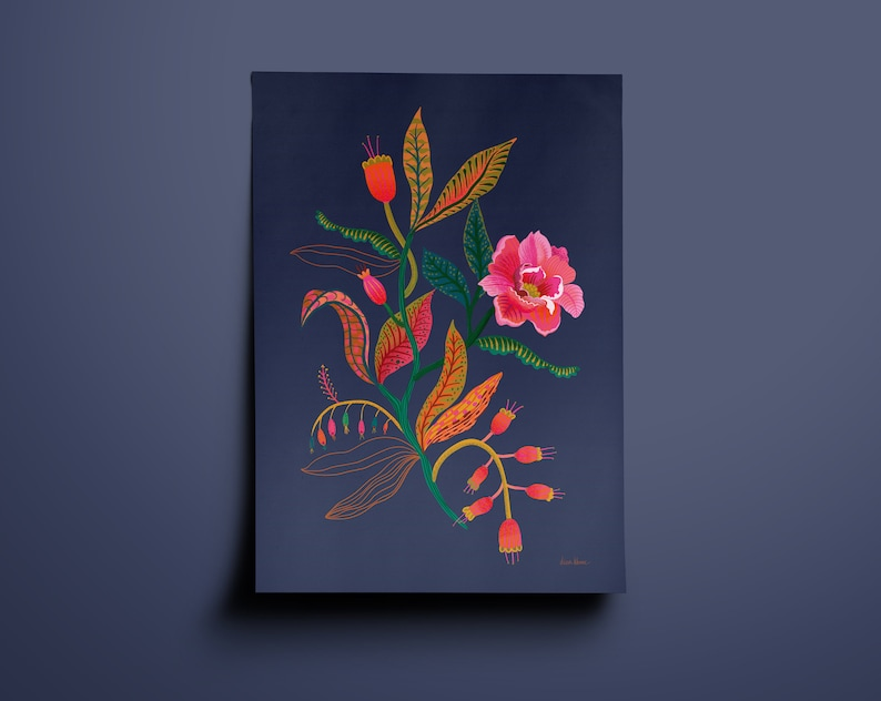 Colorful Peony Art Print  Dark blue Floral illustration image 0