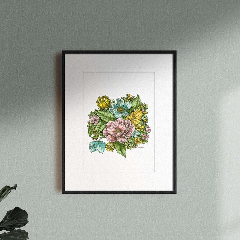 Pastel floral Print  Colorful flower illustration image 0
