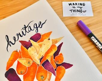 Heritage Carrots Original Watercolour