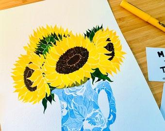 Sunflowers Original Watercolour