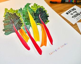 Rainbow Chard Original Watercolour