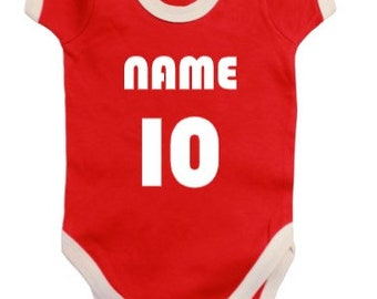 Personalised Manchester United Football Team Baby Vest Bodysuit Print design